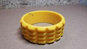 Vintage Yellow splash Green Lucite Molded Cut Bangle Chunky Bracelet