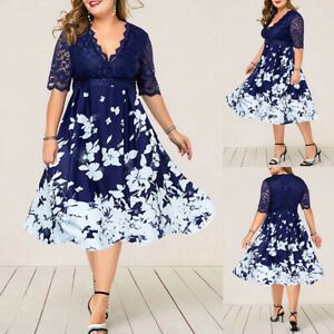 Plus Size Women Lace Floral Dress Ladies Evening Cocktail Formal Party Ball Gown