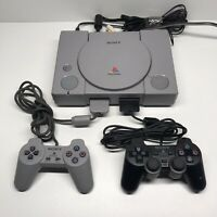 Sony Playstation 1 Console Bundle Lot 2 Controllers Power cord and cable(TESTED)