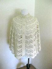 1970s Hand Crochet Mod Cape S/M Cream Poncho Sweater Caplet Wrap Vintage clo