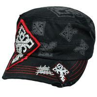 Castro Fatigue Women Patrol Military Style Hat Gem Ripped Black Celtic Cross Cap
