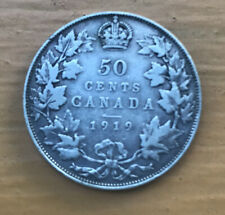 CANADA 1919 50 CENTS HALF DOLLAR KING GEORGE V SILVER CANADIAN COIN