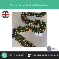 5M Xmas Christmas Garland With Baubles And Lights Festive Winter Decorations