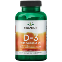Swanson Vitamin D-3 with Coconut Oil - High Potency 2,000 Iu 60 Sgels