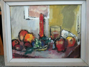 Vintage Mid Century Modern Still Life w Fruit Candle Wine Glass Acrylic on Paper