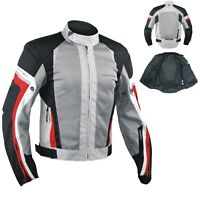 Summer Motorbike Mesh Sport RaceTouring CE Armored Jacket Motorcycle Grey-Red M