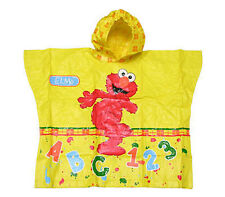 Sesame Street Elmo 123 ABC Children Rain Coat Poncho NEW Yellow Ages 3+
