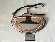 Auth Fendi Rose Gold Leather Mirrored Framed Vanity Evening Handbag Bag, Clutch.