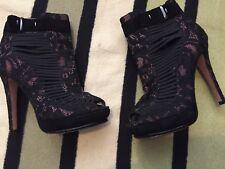 Sam Edelman Women's Stylish black lace Boots,Size 4(37).Superb Condition.