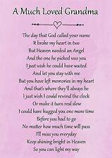 A Much Loved Grandma Memorial Graveside Poem Card & Free Ground Stake F115
