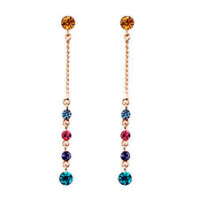 18K ROSE GOLD PLATED GENUINE MULTI-COLOUR CUBIC ZIRCONIA LONG DANGLE EARRINGS