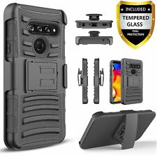 LG Stylo 6 Case, Belt Clip Armor Kickstand Phone Cover +Tempered Glass Protector