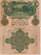 GERMANY 50 MARK BANKNOTE 1910 IMPERIAL EMPIRE WWI CURRENCY MONEY WWII WW2