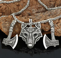 Men's Norse Viking Wolf Head&Raven/Crow Axe Pendant Necklace Amulet Gifts