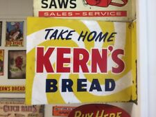 "Vintage Double Sided Metal Kern's Bread Flange Sign 18"" x 14"" Gas Oil Soda Cola"