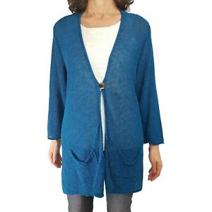 COLDWATER CREEK 1X Teal Linen Blend Long Fit Cardigan Sweater Pockets One Button