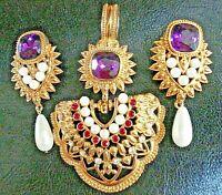 Vintage ELIZABETH TAYLOR Avon J Haveri IMPERIAL ELEGANCE PENDANT & EARRING Set