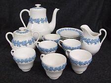 Vintage WEDGWOOD Embossed Tea Set QUEENSWARE 15 Pieces White Lavender (AB956)