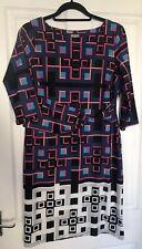 UK14 Smart Stretch Office Multi Colour Bodycon Dress 3/4 Sleeve M&Co Boutique