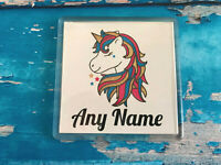 Personalised Unicorn Coaster - Add any name - Great Present / Gift