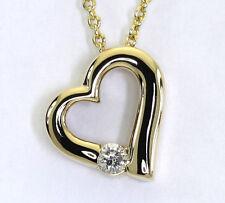 Colgante de corazón de diamante collar 14K oro amarillo brillante redondo 10 KT