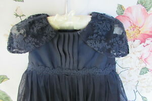 Navy Lace Christening Flower Girl Party Occasion Dress 12-18 MONSOON £48