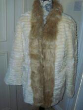 NEW Dennis Basso Faux Fur Coat Size UK Small Cream / Beige