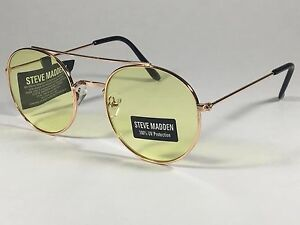 New Steve Madden Round Sunglasses Gold Tone Metal Frame Yellow Lens SM485102
