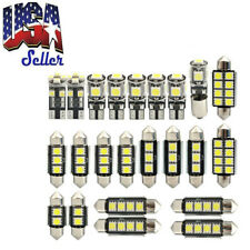 23PCS LED White Car Lamp Reading Light Interior Bulb License Plate Lamp Dome Kit