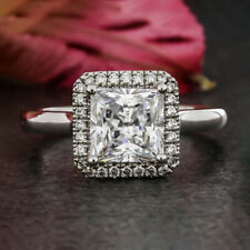 2.2 Carats Princess Cut Moissanite Halo Engagement Ring in 9k Solid White Gold