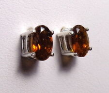 HESSONITE GARNET 6x4mm Oval .925 Sterling Silver Stud Earrings