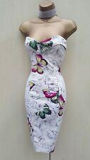 16 UK KAREN MILLEN Ivory Floral Butterfly Sweetheart Satin Cocktail Wiggle Dress