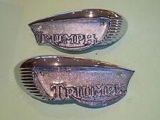 TRIUMPH  T100 T120 TR6 PETROL FUEL TANK BADGES 82-6887 82-6888 PAIR UK MADE