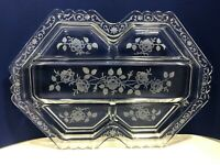 Vintage Fostoria Midnight Rose Etched Glass 5-Part Divided Oblong Relish Dish