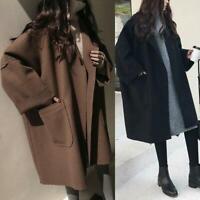 Korean Winter Women's Thicken Wool Parka Trench Coat Long Jacket Warm Overcoat