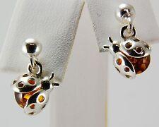 "Genuine Baltic Honey Amber Sterling Silver Ladybug Drop Earrings 9/16"" H x 7/16"""