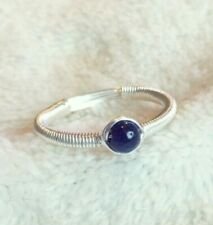 Sapphire Sterling Silver Wire Wrap Ring Simple September Tiny Birthstone Size N