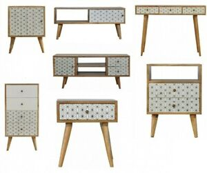 AF Range : Geometric Screen Printed : TV Media Unit : Tallboy : Bedside : Desk