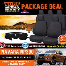 TUFF HD Canvas Seat Covers F+R & Dash Mat Navara NP300 Dual Cab 3/2015-2017 BLK