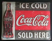 PLAQUE METAL SIGN COCA COLA SOLD HERE VINTAGE DESIGN 40X31cm BOMBEE RELIEF