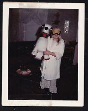 Polaroid Photograph Woman in Pajamas & Mask Costume Stuffed Dog Halloween