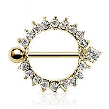 Gemmed Sunburst Nipple Shield Ring Bar Barbell Piercing Jewelry Gold BT