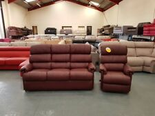 Ex-display La-z-boy brandy leather 3 seater sofa and manual recliner armchair