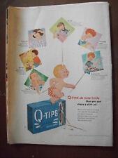 VTG 1953 Original Magazine Ad Q-tips Swabs Do More Tricks Baby Illustrated