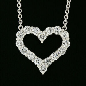 18K White Gold 1.00ctw Round Diamond Open Heart w/ by the Yard Chain Necklace