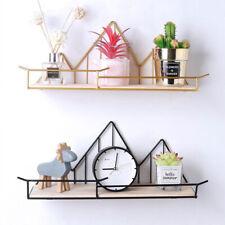 Wooden Metal Shelf Hexagon Design Wall-Mounted Shelves Wall Storage Rack Black