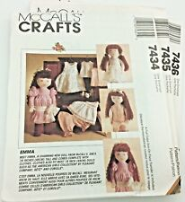 "McCalls 7434 7435 7436 EMMA American Girl 18"" Doll Clothes BUNDLE patterns UNCUT"