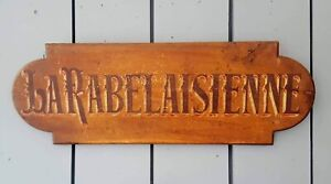 Antique French Vintage Wooden Painted Shop Sign C1900