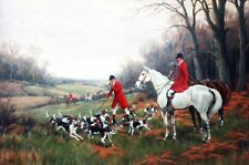 Calling up the Hounds Fox Hunting Canvas Wall Art Poster Print Horses Dogs