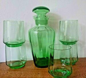Vintage Retro Ribbed - Green Drinking Glasses Carafe Decanter Set Lemonade Water